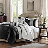 Madison Park Amherst 6 Piece Duvet Set, Full/Queen, Black/Grey