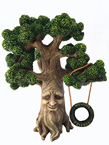 Fairy and Garden Gnome Tree – Enchanted Grandpa Miniature Tree with Removable Glow in the Dark Welcome Sign for Fairies and Lawn Gnomes