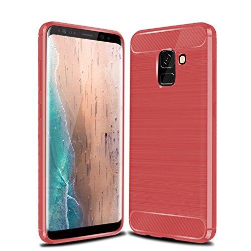 Funda Samsung A8 Plus 2018,Funda Fibra de carbono Alta Calidad Anti-Rasguño y Resistente Huellas Dactilares Totalmente Protectora Caso de Cuero Cover Case Adecuado para el Samsung A8 Plus 2018 D