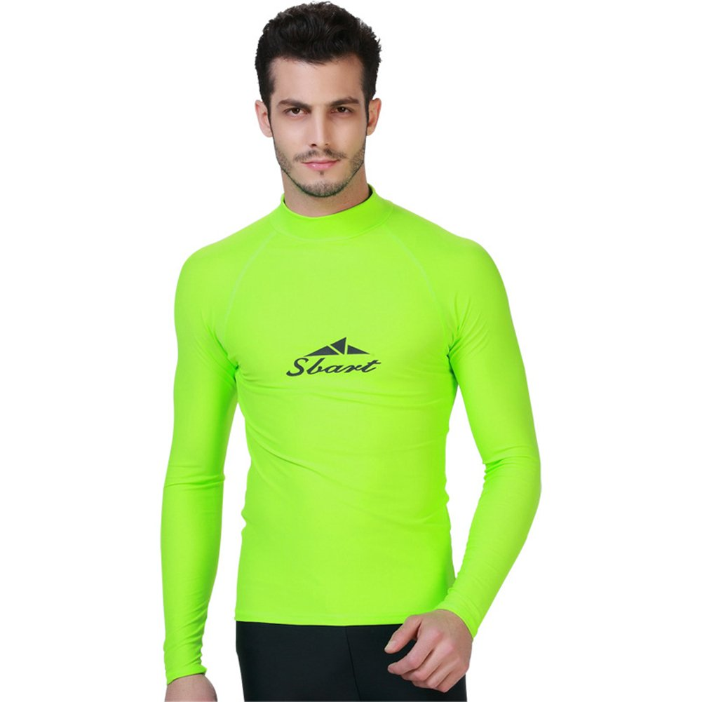 Fortuning's JDS® Men's Long Sleeve Crew Rash Guard Swimwear Beach Shirt top LUCKY BUTTERFLY