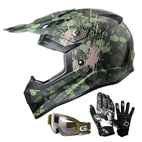 GLX Unisex-Child GX623 Youth Dirt Bike Off-Road Motocross ATV DOT Approved Helmet+Gloves+Goggles (Camouflage Green, Large)