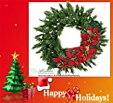 "30"" Lited Artificial Pine Wreath and Poinsettia Swag for Christmas Decoration"