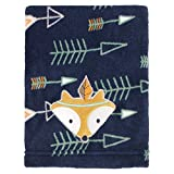 N2 Beautiful Blue White Orange Little Love Aztec Fleece Blanket, Animal Themed Nursery Bedding, Infant Child Southwest Tribal Native Fox Arrows Warm Comfortable Cute Adorable, Polyester