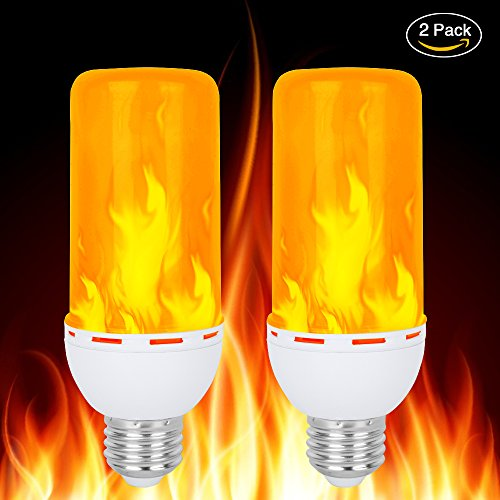 LED Flame Bulb,Rquite E26 Flickering Flame Light Bulbs 1300K Lumens Natural Fire Effect Simulated Realistic Burning Fire Warm Flash Antique Lantern Atmosphere Hotel Bar Home Decor-2 pcs (Decor Bulb Candlelight)