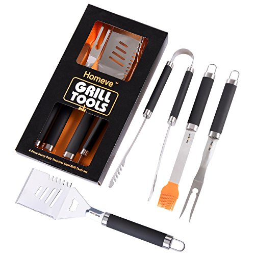 - BBQ Grill Tools Set - Premium Grilling Accessories - 4-Piece Barbecue Accessories - Heavy Duty Stainless-Steel Barbecue Grilling Utensils - Spatula, Tongs, Fork, and Basting Brush