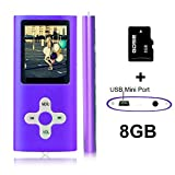Goldenseller Mp3 / Mp4 Player Video Music Media Player / Portable Videos Player / Music Player / Voice Recording Player / with 8GB Micro SD Card (Purple)