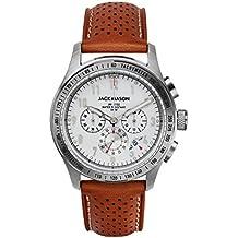 Jack Mason Men's Watch Racing Chronograph Stainless Steel White Dial w/Tan