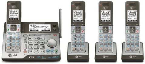 AT&T CLP99483 DECT 6.0 Connect to Cell Phone Answering System with Dual Caller ID/Call Waiting (4 Pack) Silver/Black