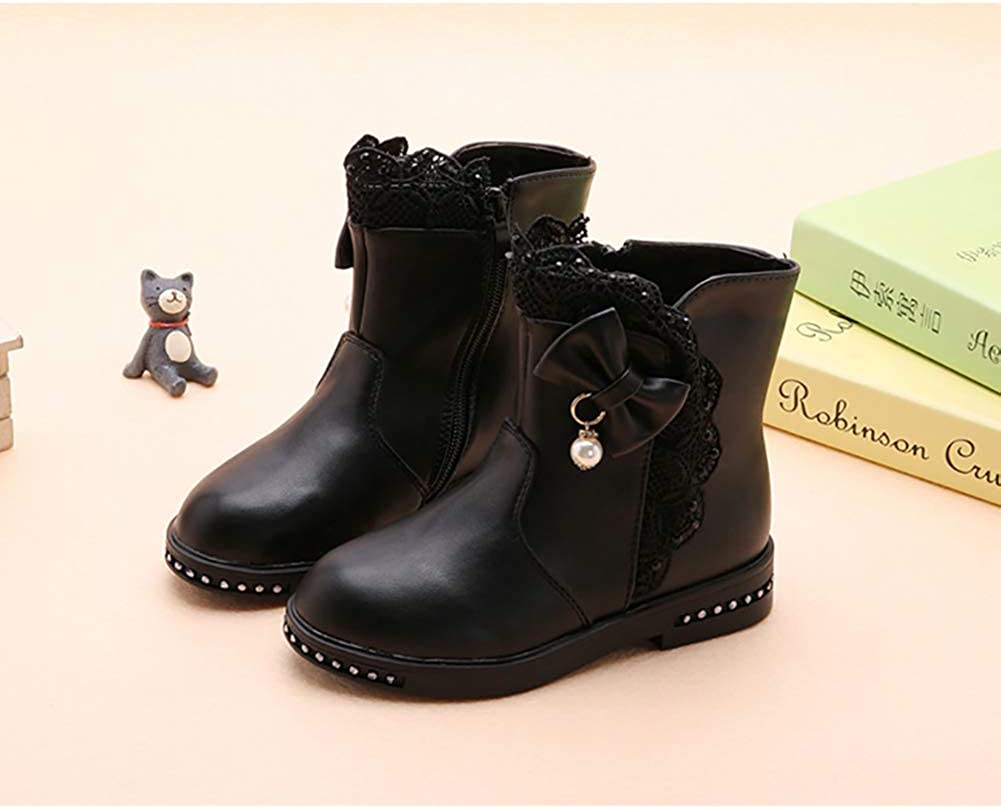 XinYiQu Girls Pearl Bowknot Lace Winter Boots Warm Cotton Snow Boots