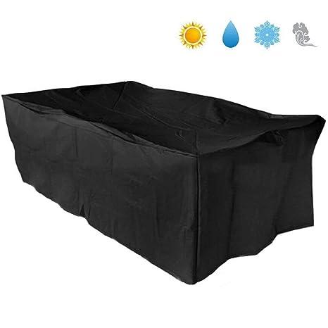 Basong Funda para Muebles de Exterior Cubierta Protectora de Polvo Agua Solar para Barbacoa sofá sillas de Exterior 242*162*100cm Color Negro