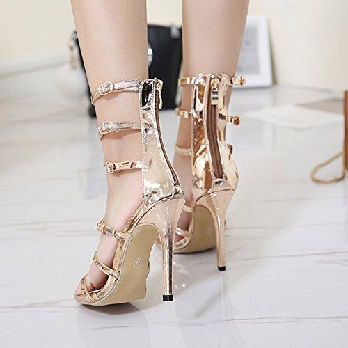 Hollow Hebilla Zapatos Tacón Gold Strappy Las Tarde Del Partido Alto Abierta Sandalias Señoras Vestido De Mujeres Punta Boda zq0xwRP