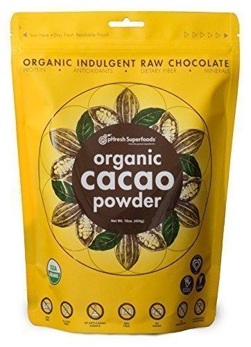 pHresh Superfoods Certified Organic Cacao Powder, Raw, Premium, Fair-trade, and Unsweetened - 8oz
