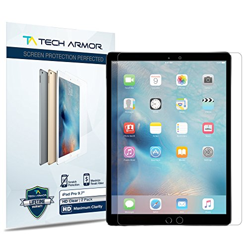 iPad Pro 9.7-inch (2016/2017) Screen Protector, Tech Armor High Definition HD-Clear Apple iPad Pro 9.7-inch Film Screen Protector (Not Glass) [2-Pack]