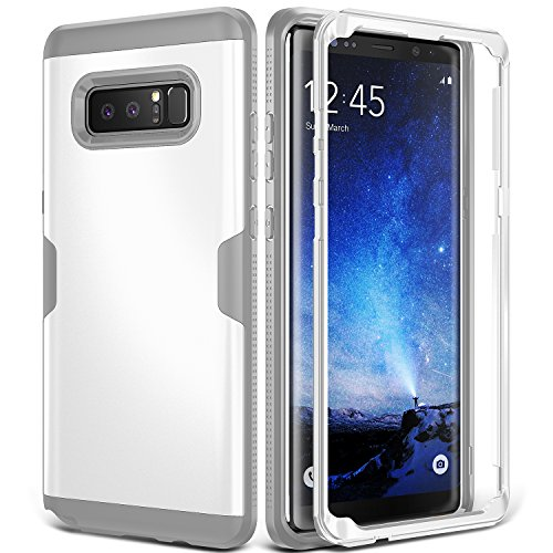 Galaxy Note 8 Case, YOUMAKER Full Body Heavy Duty Protection Shockproof Slim Fit Case Cover for Samsung Galaxy Note 8 (2017 Release) Without Built-in Screen Protector (White/Gray)
