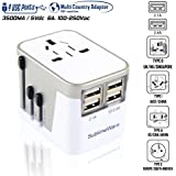 Power Plug Adapter - International Travel - w/4 USB Ports Work for 150+ Countries - 220 Volt Adapter - Travel Adapter Type C Type A Type G Type I for UK Japan China EU Europe European by SublimeWare