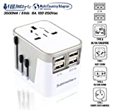 ac power plug - European Adapter - Power Plug Adapter - International Travel - w/4 USB Ports Work for 150+ Countries - 220 Volt Adapter - Type C A G I for UK Japan China EU Europe European by SublimeWare