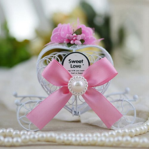 Dds5391 New Favours Birthday Party Heart Carriage Wedding Metal Chocolate Candy Box Gift - Pink
