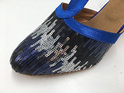 Dance Glitter Shoes Womens Sequin Mary Toe Dance Blue Honeystore Latin T Closed Jane Strap vdRw0Pq