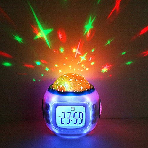 Decdeal Music Star Sky Projection Alarm Clock with Calendar Thermometer TRTAZ11A