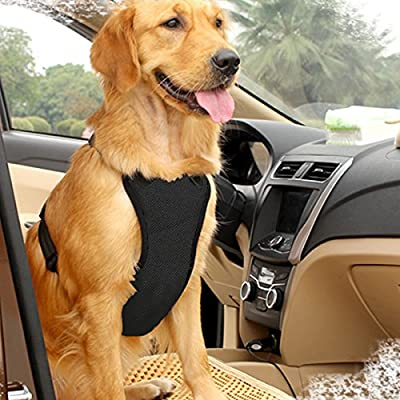 Dog Safety Vest Harness with Safety Belt for Most Car, Travel Strap Vest with Car Seat Belt Lead Adjustable Lightweight and Comfortable