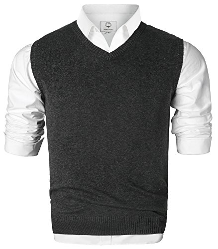 Men's V-Neck Cotton Sleeveless Sweater Casual Vest Dark Gray Medium