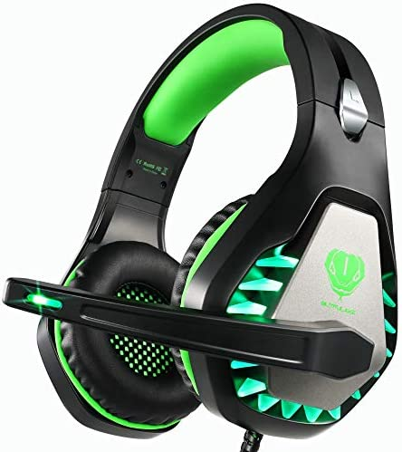 Butfulake GH1 Stereo Gaming Headset with mic Splitter Cable for PUBG Over Ear Headphone Noise Isolation mic, Surround Sound, Compatible with PS4, Xbox one S X, Switch, PC, Skype Mint Green