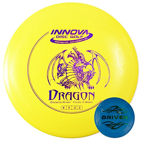 Floating Disc Golf Set - Includes an Innova Dragon Driver that Floats in Water + FREE Driven Mini Disc (colors vary) - Color Minidisc