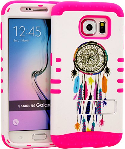 Galaxy S6 Case, Hybrid Heavy Duty Rugged Armor Kickstand Shock Proof Impact Resistant Grip Cover for Samsung Galaxy S6 (Dreamcatcher / Pink) (Koolkase Samsung Galaxy S4 Case)