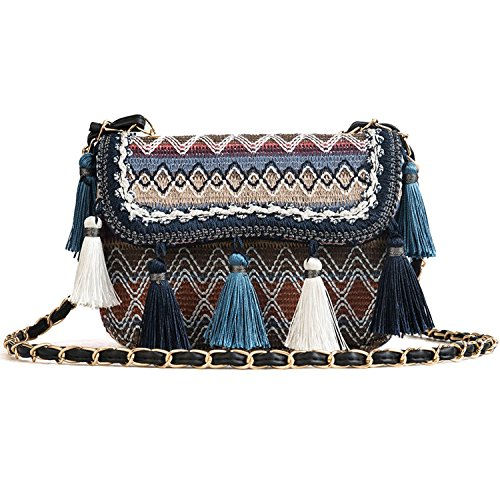 shoulder Korean 2018 creative handbags bags tassel version Blue single Yvdnd4qx