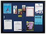 Displays2go Locking Enclosed Bulletin Board, 48 x 36 Inches, Glass Doors, Blue Fabric (FBSD43BKBL)