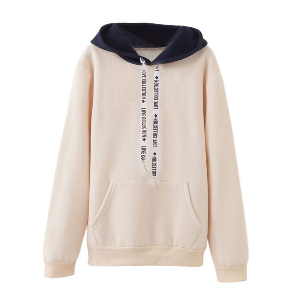 OverDose Damen Herbst-Winter-Sport-Art-Frauen-Lange Hülsen-beiläufiges mit Kapuze Sweatshirt-Pullover-Spitzenbluse Multi-Color Outwear Hoodie OverDose Damen Sept.18