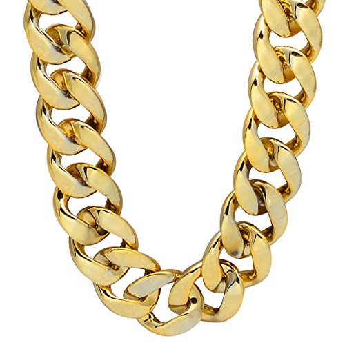 CrazyPiercing Faux Gold Acrylic Chain Necklace, 90s Punk Style Necklace Costume Jewelry, Hip Hop Turnover Chain Necklace, Plastic (32 inches, 35mm) (Gold) -
