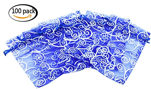 Set of 100,4x6 Inches Sheer Organza Drawstring Pouches with Vines Printing for Festival Wedding Party Favor Candy Wrap Bags by JSSHI (Blue with Silver Vines) - Blue Wedding Favor Tulle