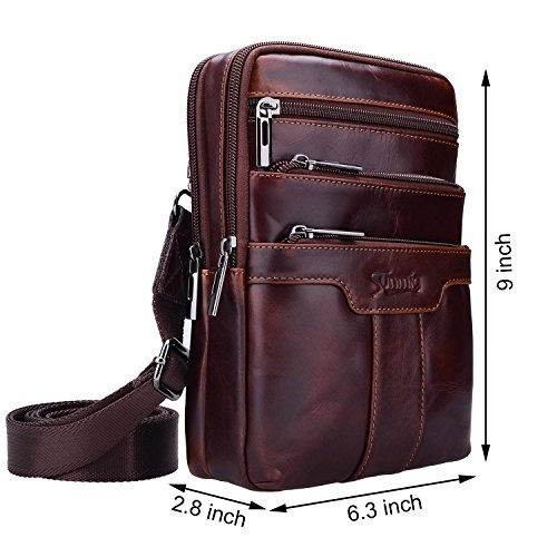 2e73ba74ad Sunmig Men s Vintage Genuine Leather Shoulder Bag Messenger Bags  (brown-3803)