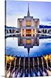 greatBIGcanvas Gallery-Wrapped Canvas entitled Ogden Utah Temple, Reflection in the Fountain, Ogden, Utah by Scott Jarvie 16''x24''