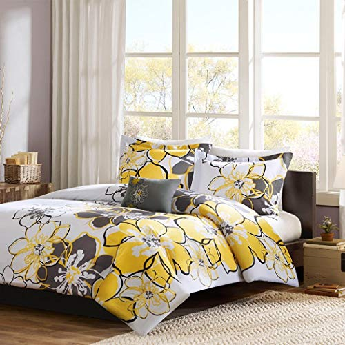 3 Piece Girls Floral Themed Comforter Twin XL Set, Pretty Abstract Flower Pattern, Beautiful All Over Summer Bedding, Colorful Flowers, Reversable Dark Gray, White Yellow Grey Black - Beautiful Summer Flowers