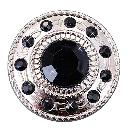 - Set of 2 Black Crystal Rhinestone Wheel Conchos Bling Headstall TACK Cowgirl