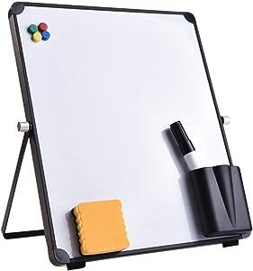 Basde Small Dry Erase Board Whiteboard Desktop Portable Mini White Board Desk Easel 360 Degree Reversible to Do List Notepad for Kids Drawing/Teacher Instruction/Memo Board (30 × 25 cm)
