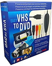 VHS to Digital DVD Converter, USB2.0 Audio/Video Capture Grabber Adapter Device,Transfer VCR TV Hi8 Game S Video to DVD,Support Windows 10/8.1/8/7/Vista/XP