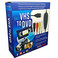 Lvozize VHS To Digital DVD Converter, USB2.0 Audio/video Capture Grabber Adapter Device,Transfer VCR TV Hi8 Game S video to DVD,Support Windows 10/8.1/8/7/Vista/XP