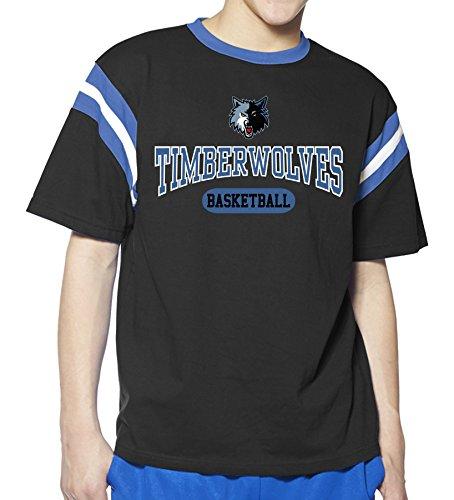 - NBA Minnesota Timberwolves Children Unisex NBA Youth Junior short Sleeve Ringer Tee,7,Blue/Black