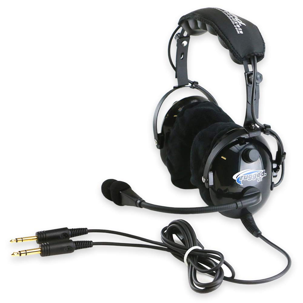 Rugged. Air RA900 General Aviation Pilot Headset with Stereo/Mono Switch, GA Dual Plugs and MP3 Music Input - Includes Gel Ear Seals and Cloth Ear Covers