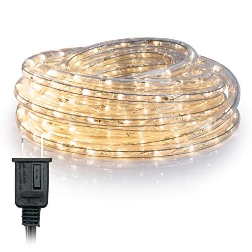WYZworks 100' feet Warm White 3/8' LED Rope Lights | UL & ETL Certified IP65 Water Resistant Flexible 2 Wire Accent Holiday Christmas Party Decoration Indoor/Outdoor Lighting