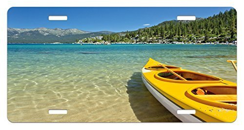 zaeshe3536658 Lake Tahoe License Plate, Extreme Sports in Wild Lakeside Places Scenic Activities, High Gloss Aluminum Novelty Plate, 6 X 12 Inches, Turquoise Sky Blue Lime Green
