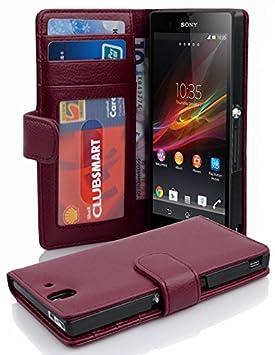 Cadorabo Carcasa para Sony Xperia Z en tarjeta de teléfono móvil con 3 compartimentos Case Cover Carcasa Funda Funda Book Style Bordeaux Lila