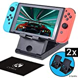 2x CamKix Compatible Playstand Replacement for Nintendo Switch - Desktop Stand - Holds Nintendo Switch Upright - Multi Angle - Ideal for Handsfree Multiplayer Gaming - Connect a Charger/Keyboard
