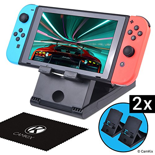 CamKix Playstand Compatible with Nintendo Switch - 2X Desktop Stand - Holds Nintendo Switch Upright - Multi Angle - Ideal for Handsfree Multiplayer Gaming - Connect a Charger/Keyboard