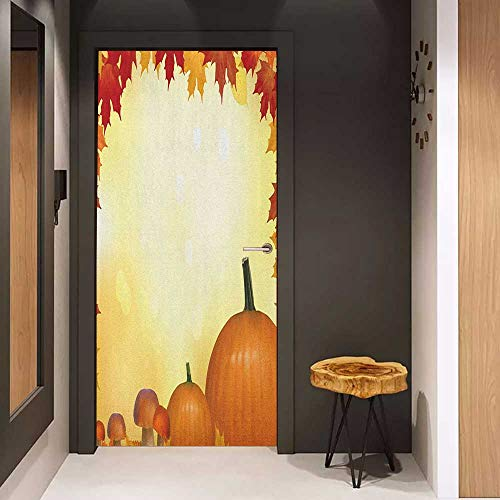 Sticker for Door Decoration Harvest Mushrooms and Pumpkins with Autumn Tree Leaves Framework Bokeh Effect Door Mural Free Sticker W38.5 x H77 Pale Yellow Orange Red ()