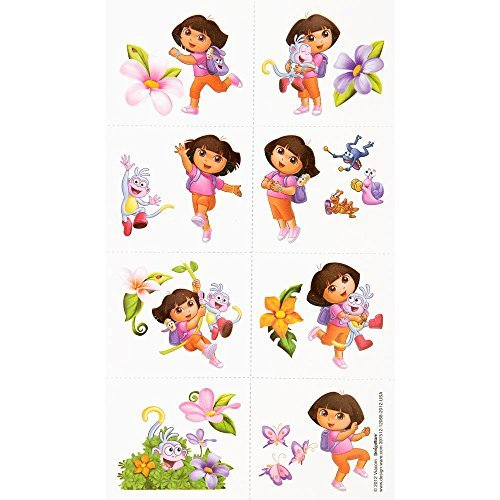 Amscan Colorful Dora's Flower Adventure Party Tattoo (16 Piece), Multi -