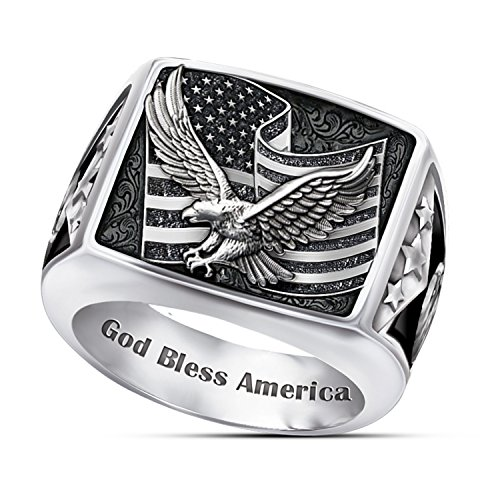 Ring: Wings Of Freedom Stainless Steel Patriotic Eagle Ring: 13.5